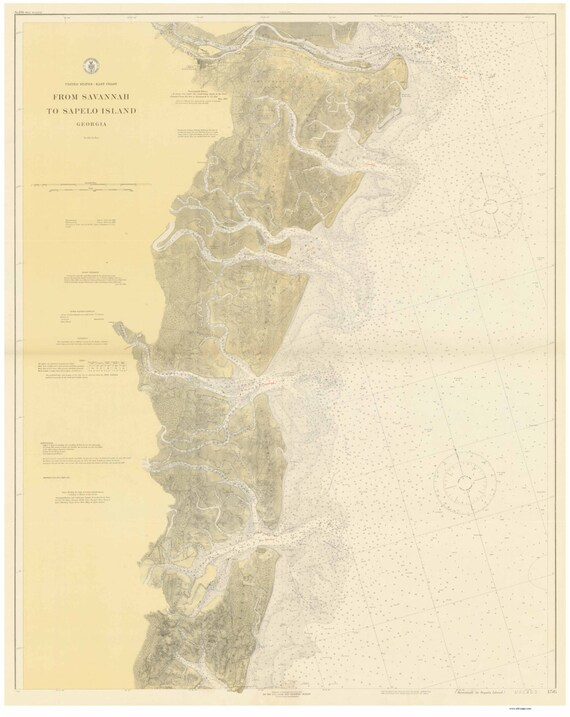Savannah to Sapelo Island -1919 - Georgia - Nautical Map Reprint 80000 on columbia river on us map, susquehanna river on a us map, platte river on a us map, james river on a us map, tennessee river on a us map, potomac river on a us map, arkansas river on a us map, missouri river on a us map, savannah river site map, delaware river on a us map, sabine river on a us map, red river on us map, minnesota river on a us map, hudson river on a us map, rappahannock river on a us map, willamette river on a us map, sacramento river on a us map, mississippi river on a us map, cumberland river on a us map, suwannee river on a us map,