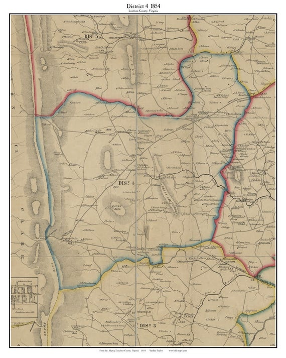 District 4 Loudoun County Virginia 1854 Old Town Map Custom Etsy