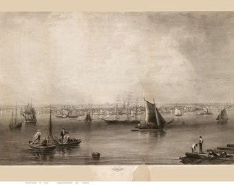Boston - 1857 Bird's Eye View by B.F. Smith