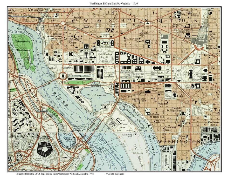 Topographic Map Washington Dc.Washington Dc Downtown 1956 Old Topographic Map Usgs Custom Etsy