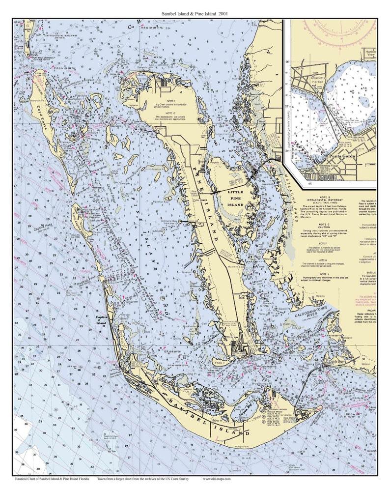 Sanibel Island & Pine Island 2001 Nautical Map Florida - Custom Print 80000  11426 - Reprint