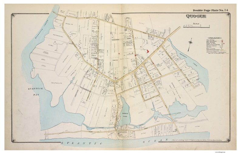 Map Of Quogue New York.Quogue 1916 Long Island New York Suffolk Co Atlas V2 Southampton Town Map Reprint Li Ny