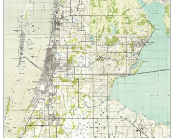 Clearwater & Dunedin Florida 1943 Old Topo Map - A Composite made from 6 old USGS Topographical Maps -  Custom Reprint