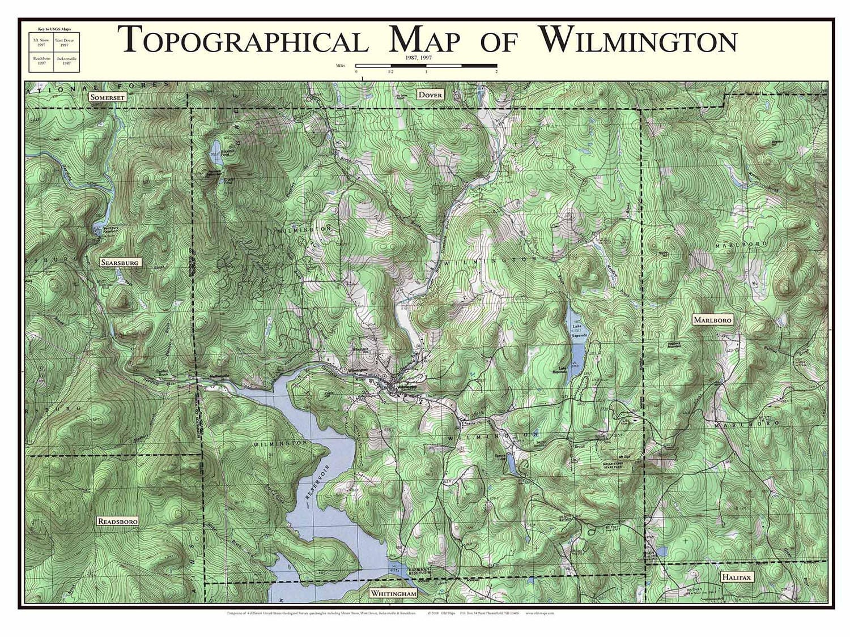 Topographic Map Vermont.Wilmington Vermont 1987 Old Topographic Map Usgs Topo Etsy