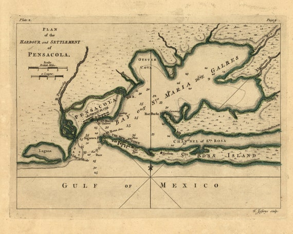 pensacola bay 1768 florida old map reprint usa 1768 atlas etsy etsy