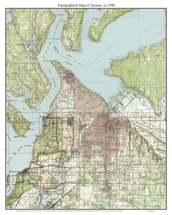 Tacoma Ca 1940 Usgs Old Topographic Map Custom Etsy