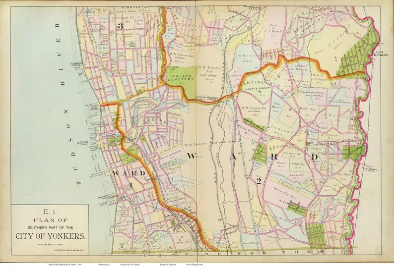 Map Of New York Hudson Valley.Yonkers South 1891 Map Reprint Hudson Valley New York Atlas