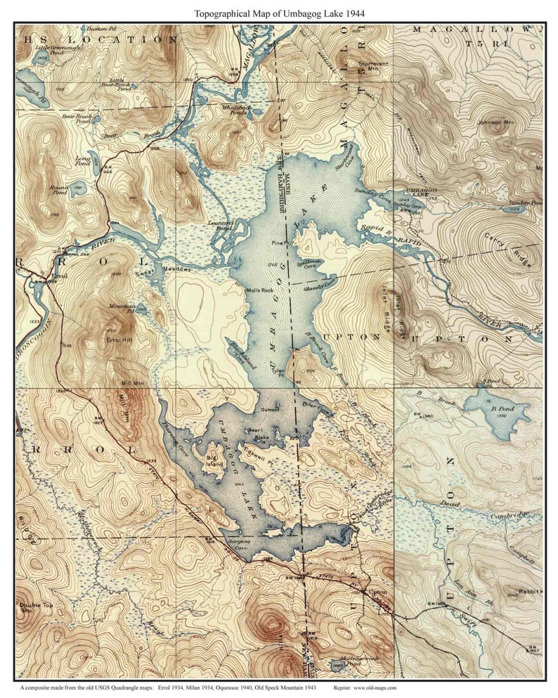 Umbagog Lake 1944 Old Topographic Map USGS Custom Composite | Etsy