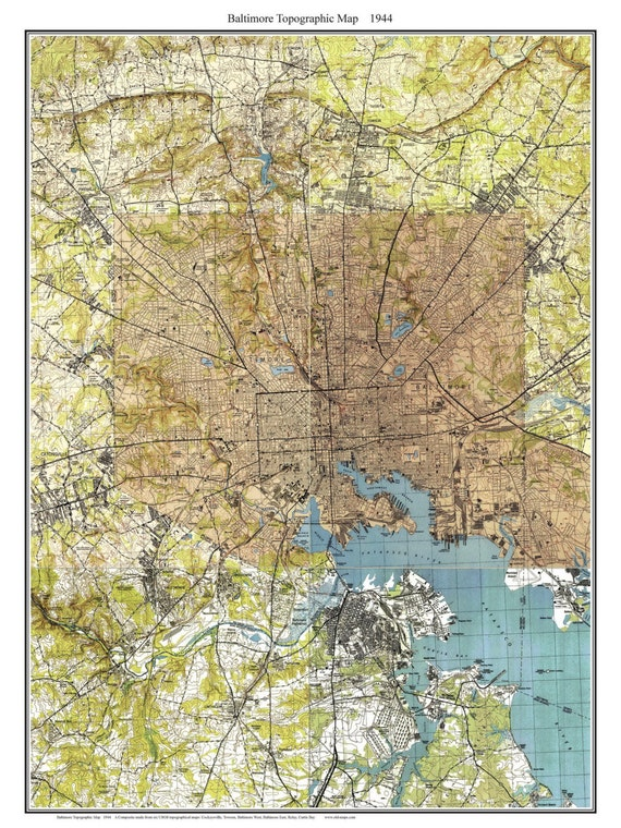 Baltimore Maryland 1944 Old Topographic Map Usgs Topo Etsy