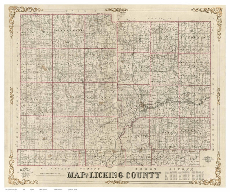 Licking County Ohio 1854 Old Wall Map Reprint With Homeowner Names