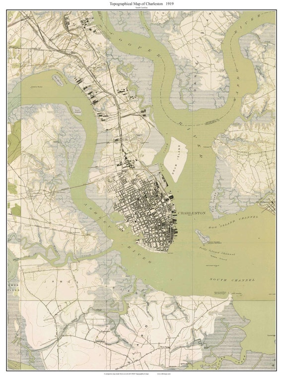 Charleston Sc 1919 Old Topo Map Usgs Custom Composite Etsy