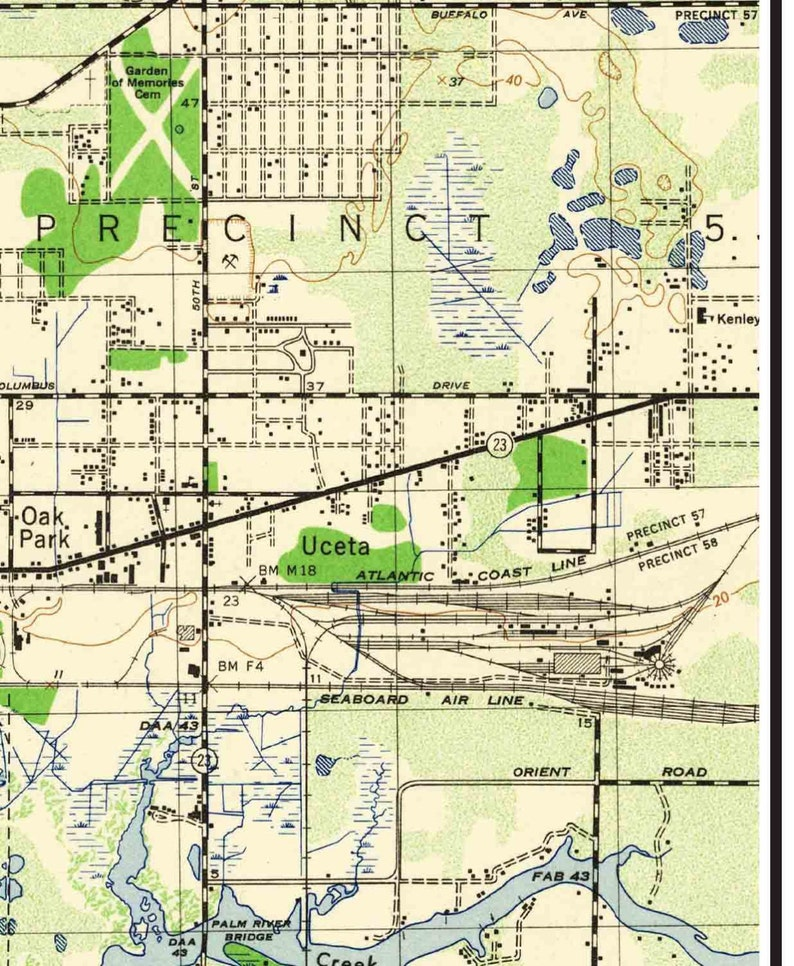 Tampa Topographic Map.Tampa Florida 1945 Old Topo Map A Composite Made From 6 Usgs Etsy