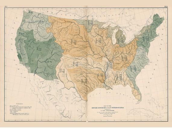 USA Rivers Map 1872 Reprint 9th Census Atlas