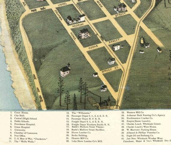 "1891 Seattle Washington Birdseye View Map Art Print 13/"" x 19/"" Reproduction"