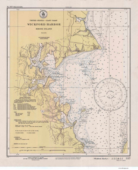 Wickford Harbor Ri 1935 Nautical Map By The Uscgs Reprint Etsy