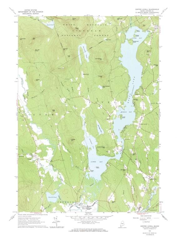 Lovell Maine Map.Center Lovell 1963 Old Topo Map Kezar Lake Edited Reprint Etsy