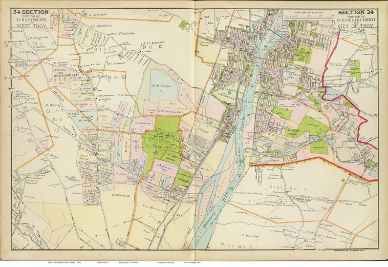 Map Of New York Hudson Valley.Troy 1891 Map Reprint Hudson Valley New York Atlas