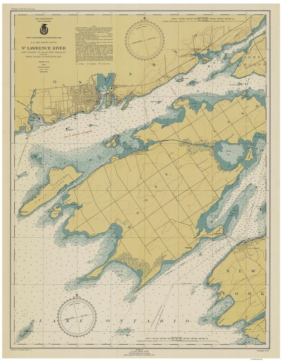 St Lawrence River World Map.St Lawrence River Cape Vincent To Allan Otty Shoal New Etsy