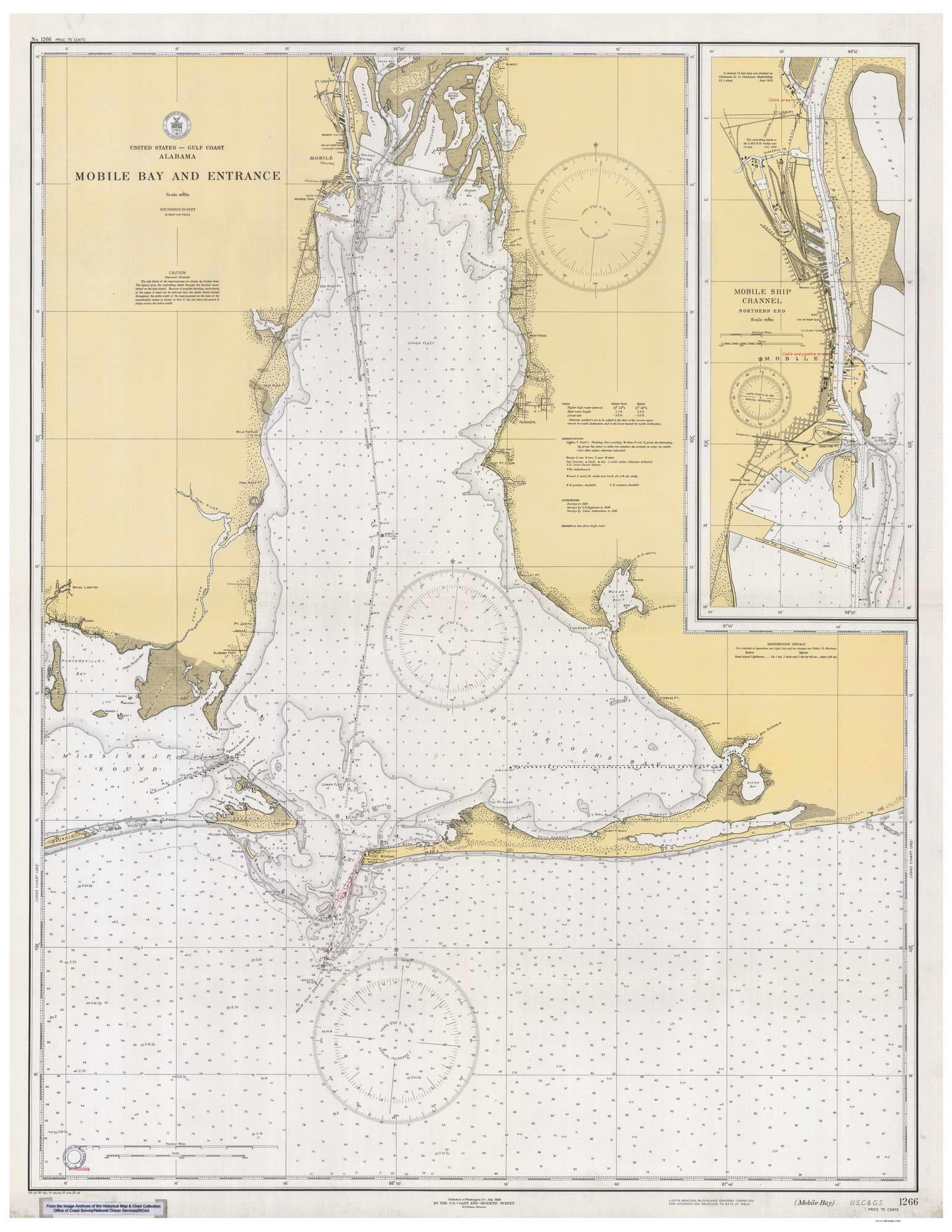 Mobile Bay 1933 Nautical Old Map Reprint - Alabama - Fairhope Bon Secour on