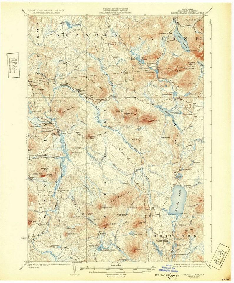 Santa Clara 1923 1932 Old Map Fine Meacham Lake Duane | Etsy