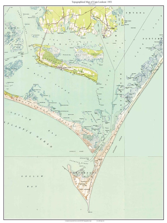 Cape Lookout 1951 Old Topographic Map Usgs Custom Composite Etsy