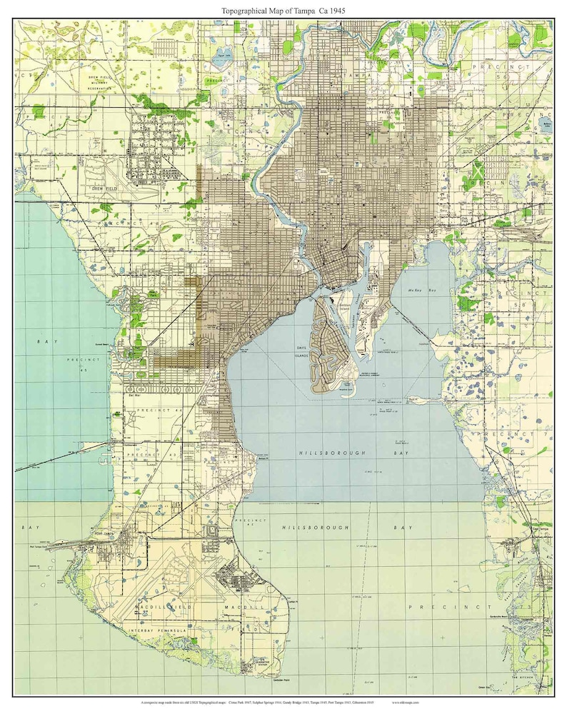 Topo Map Florida.Tampa Florida 1945 Old Topo Map A Composite Made From 6 Usgs Etsy