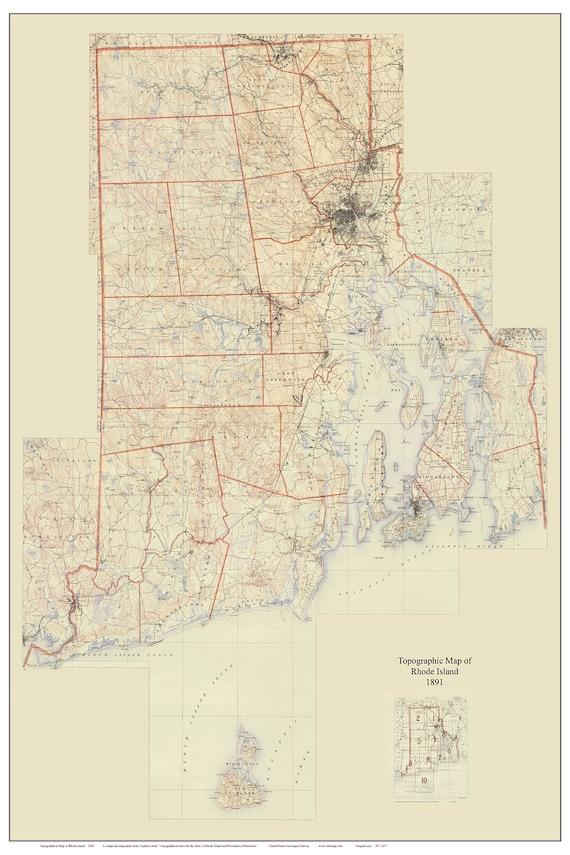 Topographic Map Rhode Island.Rhode Island 1891 Old Topographic Map Usgs Custom Etsy