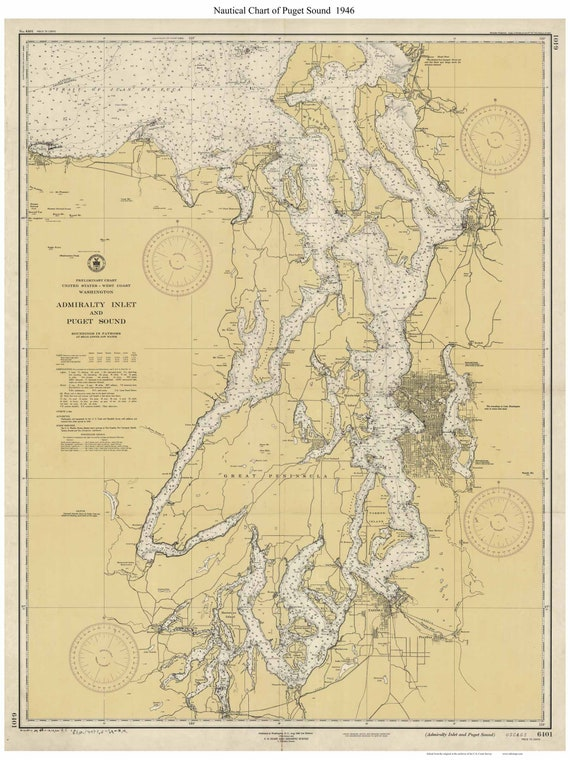 Puget Sound 1946 Nautical Map - Washington - PC Big Area 6401 - Reprint