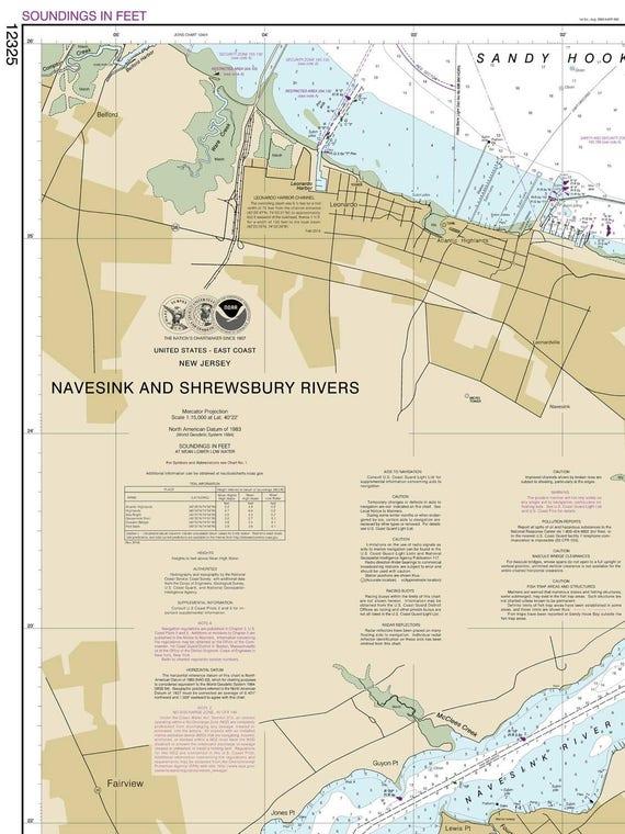 Navesink and Shrewsbury Rivers - 2014 Nautical Map - New Jersey Harbors 2 -  543 - 12325 Reprint