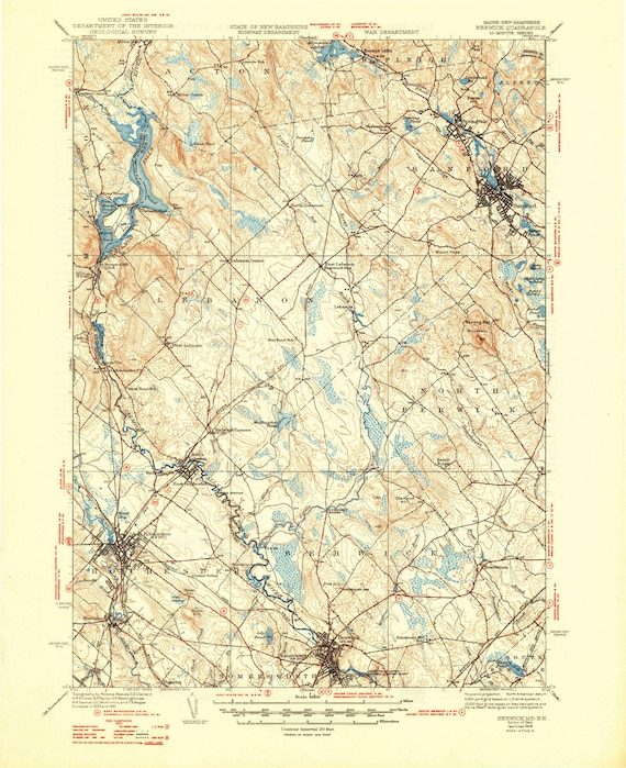 Topo Map Of Maine.Berwick 1944 1948 Old Topo Map Sanford Rochester Salmon Etsy