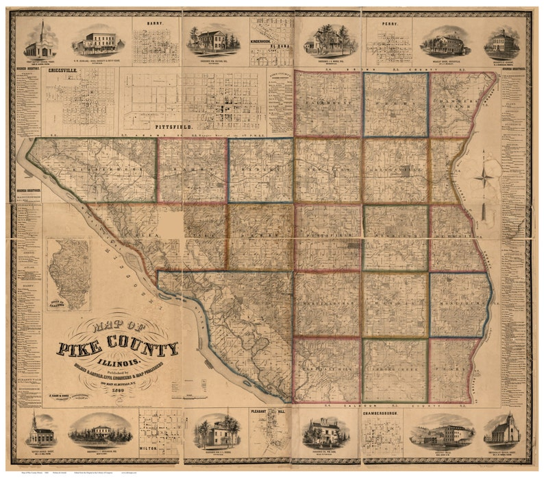 Pike County Illinois 1860 Old Wall Map With Landowner Names Farm