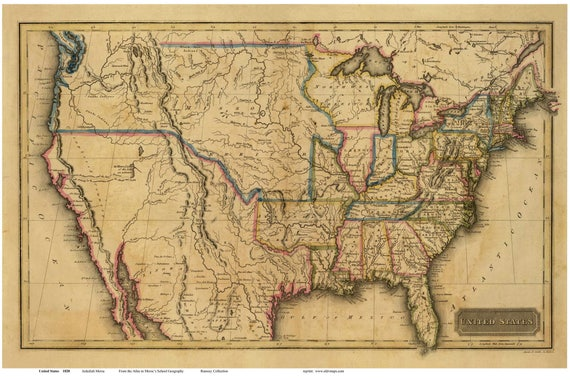The United States of America 1820 Map - USAMap Reprint Morse