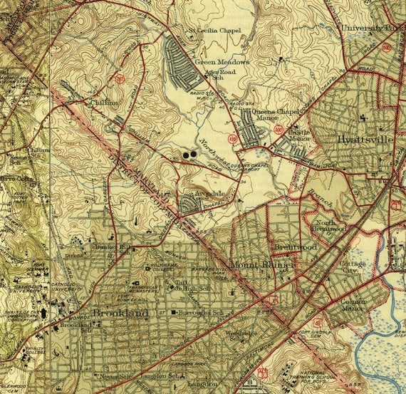 Topographic Map Washington Dc.Washington Dc Only 1945 Old Topographic Map Usgs Custom Etsy