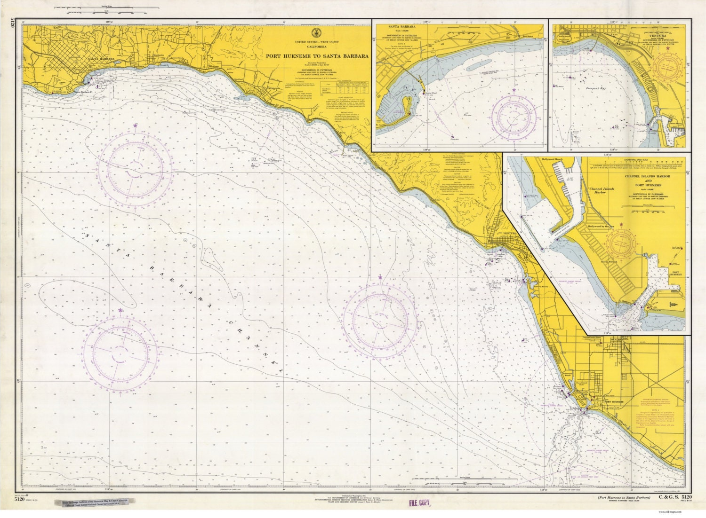 Port Heuneme To Santa Barbara 1966 Nautical Map Reprint Etsy
