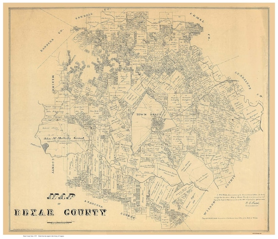 Bexar County Texas 1879 Old Wall Map Reprint With Land