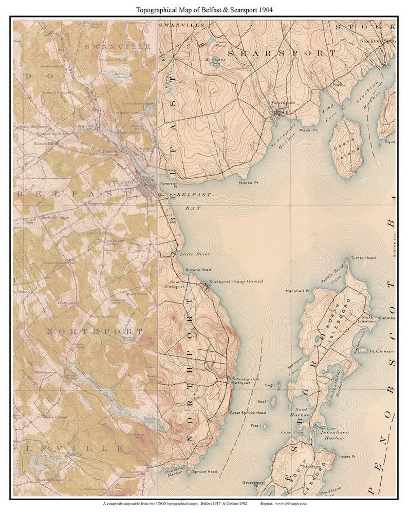 Belfast & Searsport 1904 Old Topographic Map USGS Custom Composite on arlington maine map, katahdin maine map, fairfield maine on map, swan's island maine map, bangor maine map, jonesport maine map, maine maine map, wilmington maine map, maine hardiness zone map, camden maine map, belfast maine map, maine blueberry map, warren maine map, brewer lake maine map, ogunquit maine map, dedham maine map, dixfield maine map, yarmouth maine map, cape jellison maine map, bath maine map,