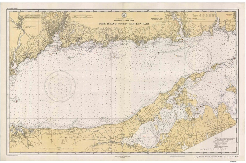 Long Island Sound - Eastern Part - 1934 Nautical Map Connecticut - on map of eastern rhode island, map of boston sound, map of washington sound, map of rhode island sound,