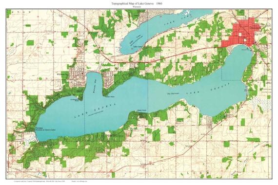 Lake Geneva 1960 Old Topographic Map Usgs Custom Composite Etsy