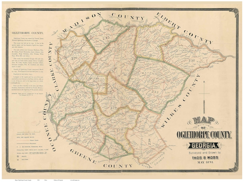 Show Map Of Georgia.Oglethorpe County Old 1894 Map Georgia Wall Map With Homeowner Names Reprint