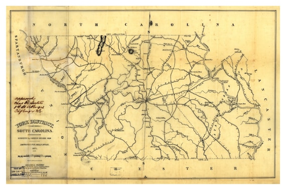York District South Carolina 1825 - Old County Wall Map - Homeowner on high school in york south carolina, united states map of south carolina, york co south carolina, fort mill map of south carolina, york air conditioner,