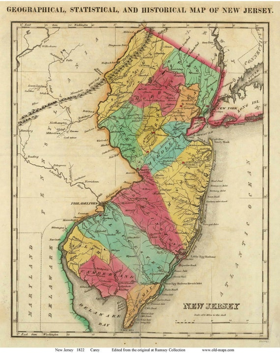 New Jersey 1822 Old State Map Carey Reprint