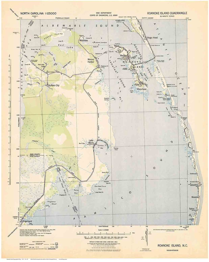 Roanoke Island 1943 Old Topo Map Usgs Custom Reprint North Etsy