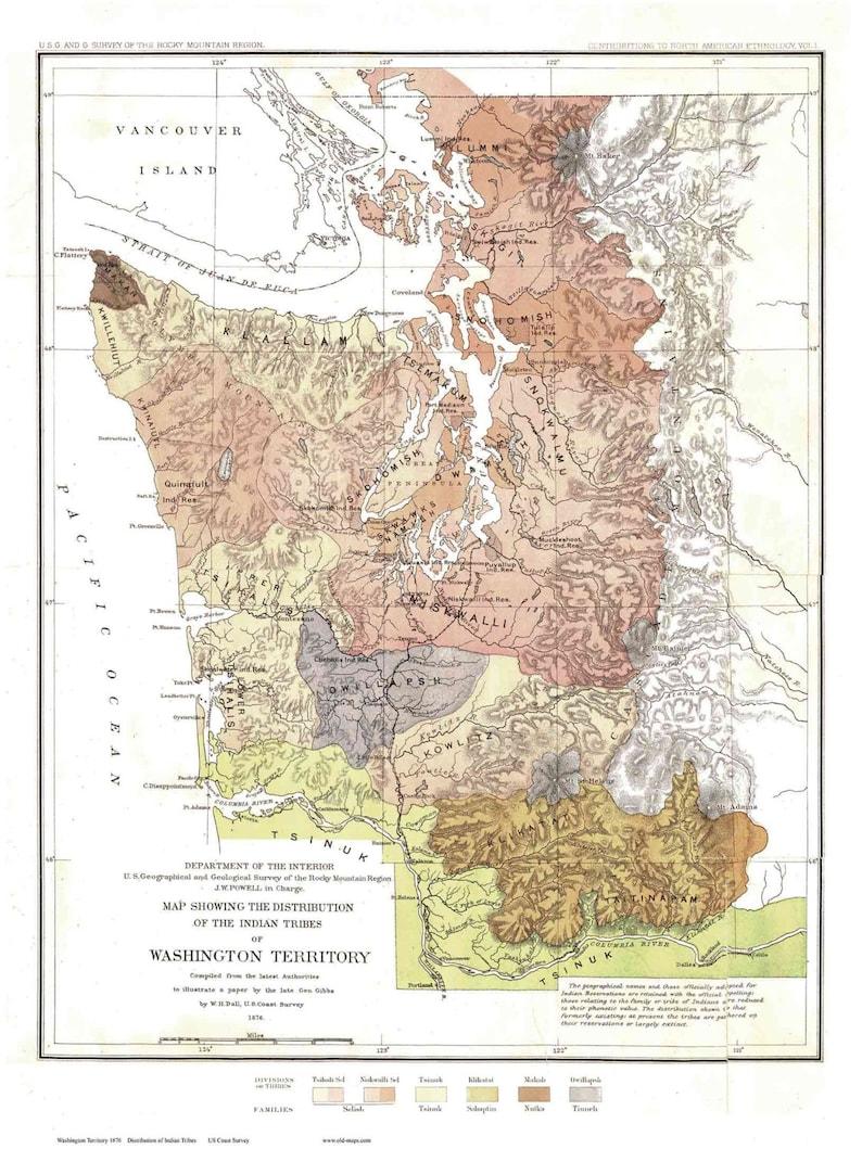 Tribu Indienne Carte.Le Territoire De Washington Carte Tribu Indienne 1876 Par George Gibbs W H Dall Reimpression