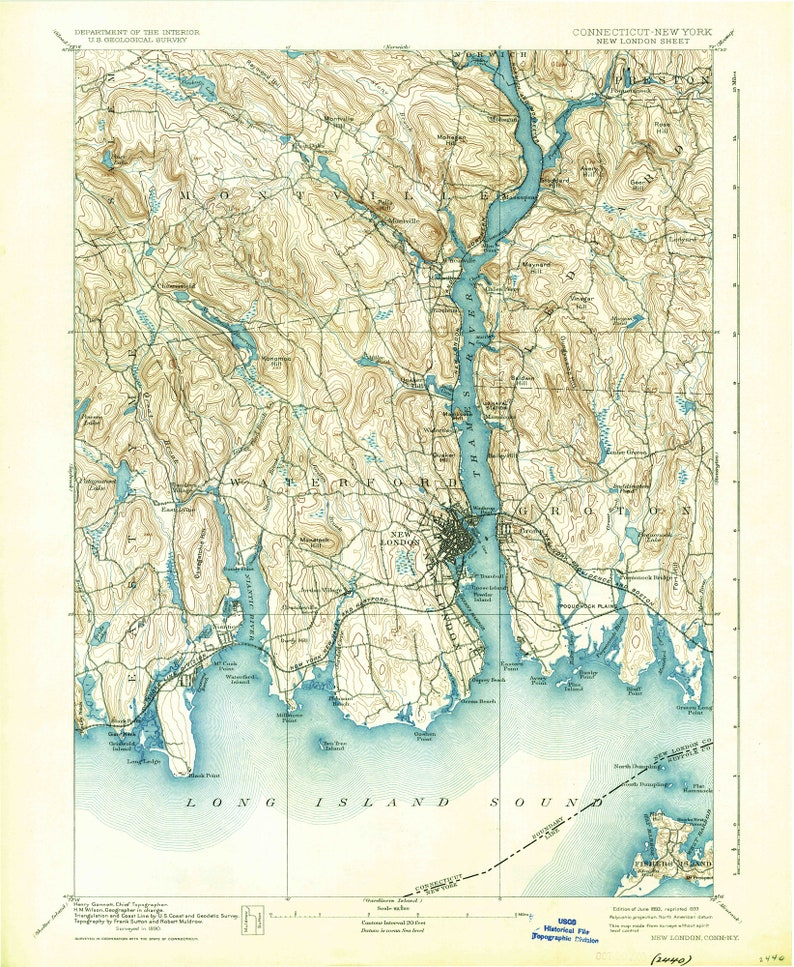 New London 1893 1933 Old Topo Map Waterford Groton Montville | Etsy