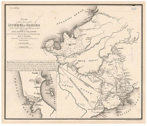 Isthmus of Panama 1843 Old Map Panama Canal - Reprint 1843 regional