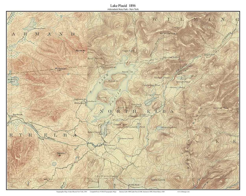 Lake Placid 1896 USGS Old Topographic map Lakes Reprint | Etsy