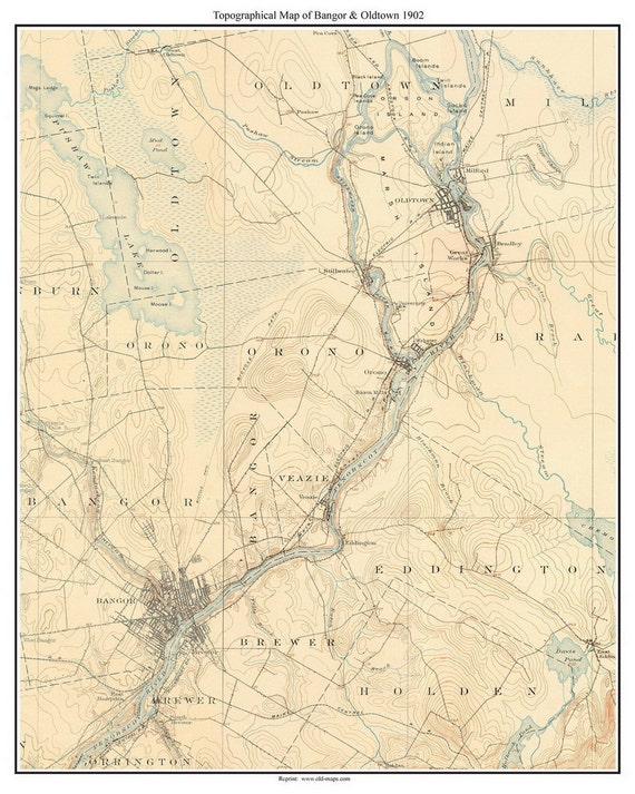 Bangor And Oldtown 1902 Old Topographic Map Usgs Custom Etsy