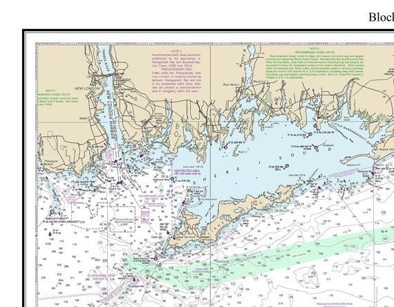 Block Island Sound 2017 Custom Nautical Map Rhode | Etsy