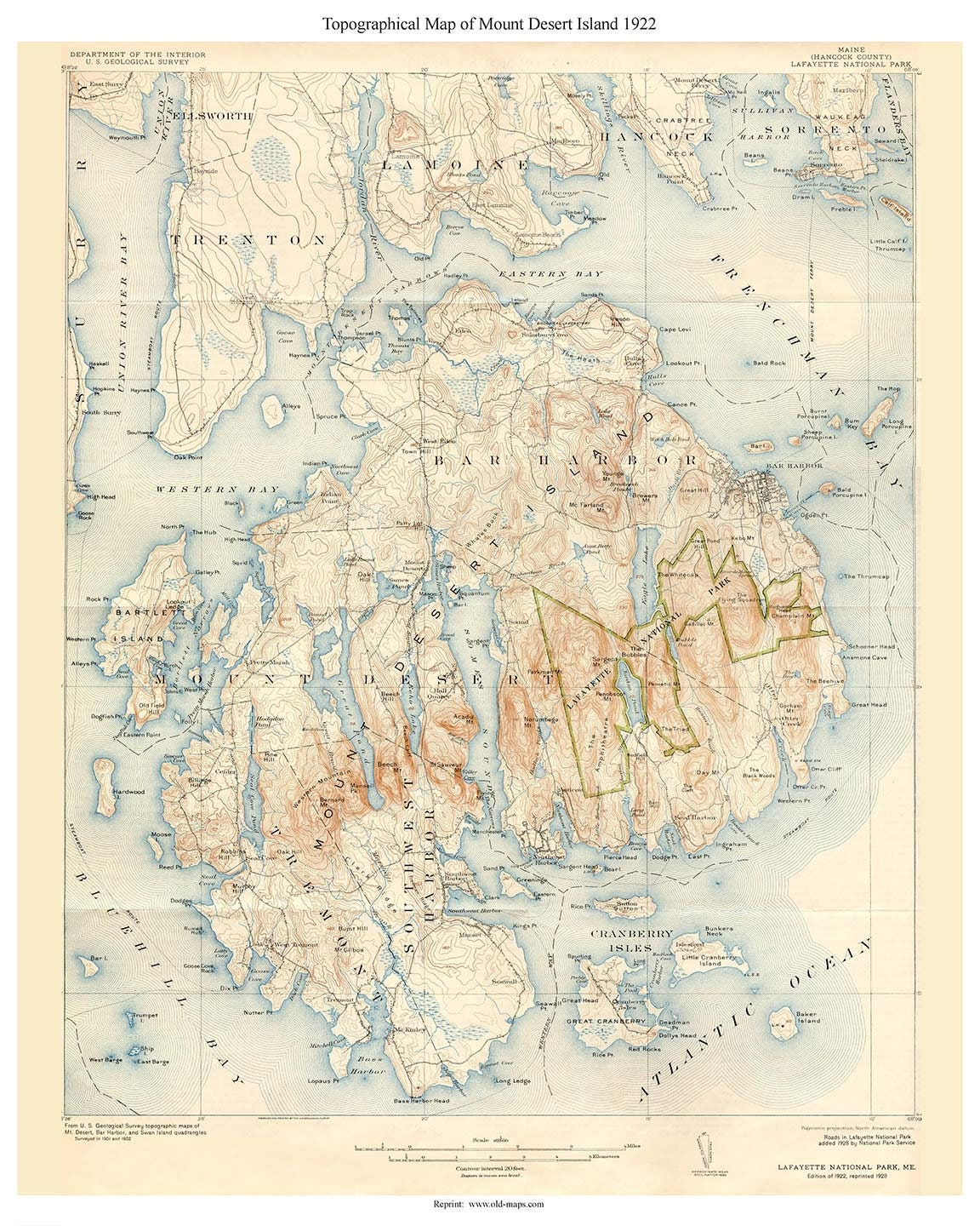 Topo Map Of Maine.Mount Desert Island 1922 Old Topo Map Edited Reprint Of The Etsy