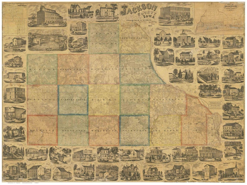 Jackson County Iowa Map.Jackson County Iowa 1867 Old Wall Map With Landowner Names Etsy